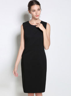 Sleeveless Solid Color Stitching Bodycon Dress