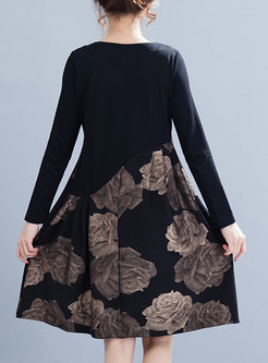 Chic Print Loose Shift Dress