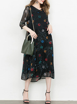 Black Mesh Print Loose Shift Dress