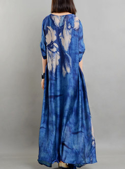 Blue Ethnic Print Arcadian Shift Dress With Camis