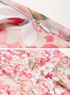 Pink Silk Flower Print A Line Dress