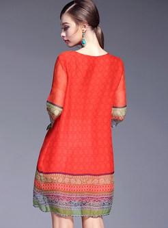 Orange Retro Embroidered Print Shift Dress