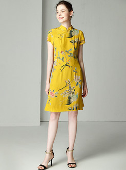 Yellow Elegant Silk Stand Collar Shift Dress
