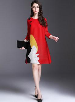 Stylish Oversized Print Shift Dress