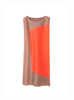 Hit Color Sleeveless Splicing Shift Dress