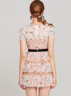 Stylish Embroidery Spangle Waist Party Dress