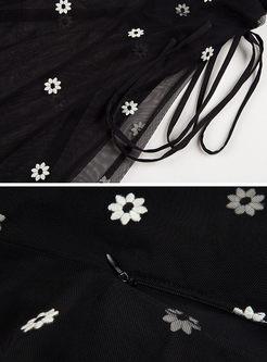 Black Gauze Embroidery A Line Skirt