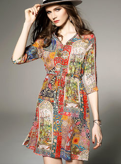 Ethnic Multicolored Print Tied Skater Dress