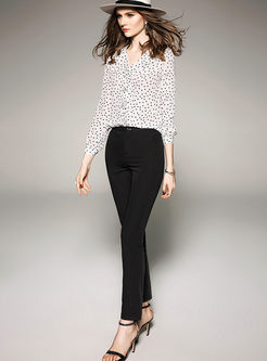 Elegant Dot Print Falbala Long Sleeve Blouse