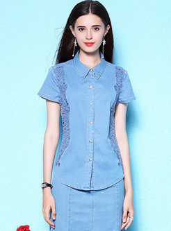 Blue Short Sleeve Lapel Denim Blouse