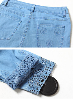 Blue Hollow Out Denim Pencil Pants