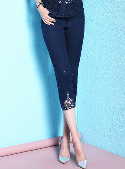 Deep Blue Lace Slim Jeans