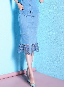 Stitching Lace Ruffle Mermaid Skirt