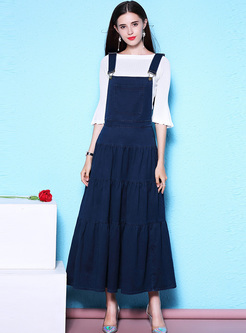 White Flare Sleeve Top & Blue Overalls