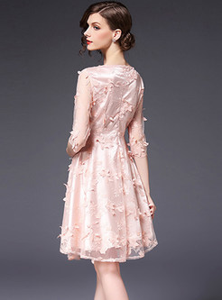 Elegant V-neck Lace Embroidered Skater Dress