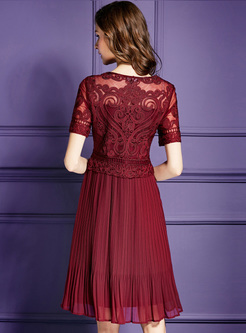 Wine Red Embroidered Waist Pleated Dress
