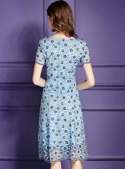 Blue Mesh Waist Splicing Lace Dress