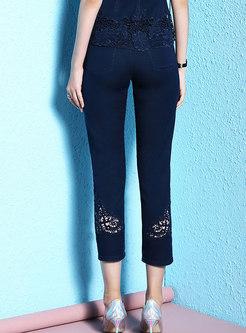 Lace Stitching Slim Denim Pencil Pants