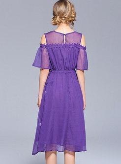 Nail Bead Off The Shoulder Chiffon Dress