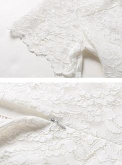 White High Waist Falbala Lace Dress