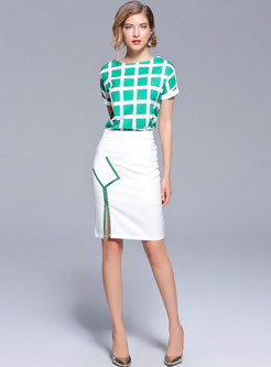 Chic Plaid Top & Slit Bodycon Skirt