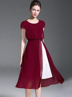 Wine Red Hit Color Stitching Chiffon Split Dress