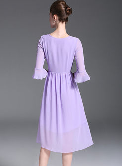 Purple Chiffon Split Three-quarter Sleeve Lace Dress