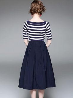 Street Striped Knitted Top & Pocket Big Hem Skirt