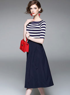 Casual Striped Knit Top & A Line Big Hem Skirt