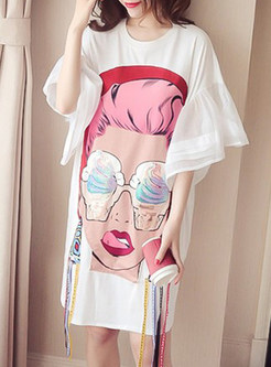 White Plus Size Print Ribbon T-shirt Dress