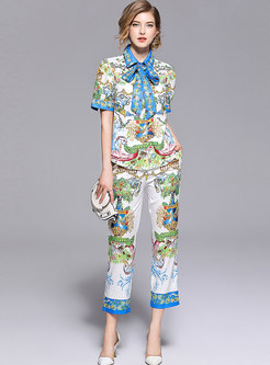 Print Bowknot Short Sleeve Cropped Pant Suits