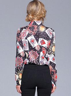 Poker Design Turn Down Collar Blouse