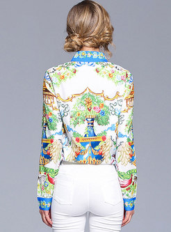 Ethnic Printing Long Sleeve Blouse