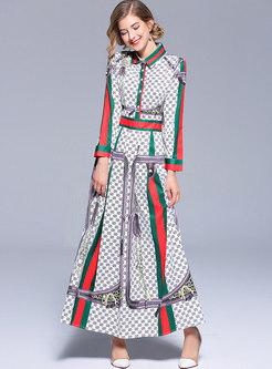 Brief Color-blocked Lapel Maxi Dress