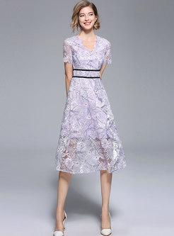 Elegant V-neck High Waist Lace Dress