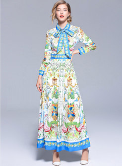 Retro Printed Bowknot Lapel Maxi Dress