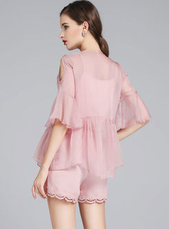 Pink Beaded Flare Sleeve Top & Straight Lace Shorts