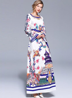 White Printing Flare Long Sleeve Maxi Dress