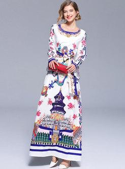 White Printing Flare Long Sleeve Maxi Dress