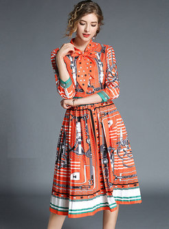 Orange Three Quarters Sleeve Pleated Dress