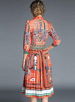 Orange Three Quarters Sleeve Pleated Dress