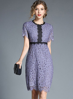 Purple Lace Hollow Out Sheath Dress