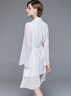White Chic Notched Neck Belted Dress