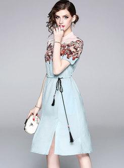 Stylish Lacing Stand Collar A Line Dress