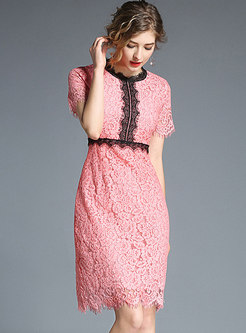 Pink Lace Hollow Out Bodycon Dress
