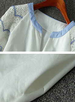 Fashion Tied V-neck Stitching A Line Dress