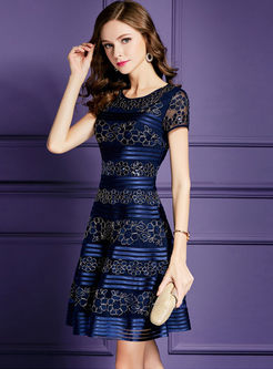 Deep Blue Elegant Spangle Embroidery Party Dress