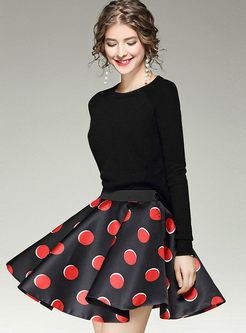 Street High Waist Dot Print Skirt