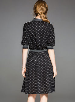 Black Lapel Dot Print Waist A Line Dress