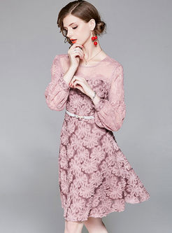 Pink Mesh Puff Sleeve A Line Dress